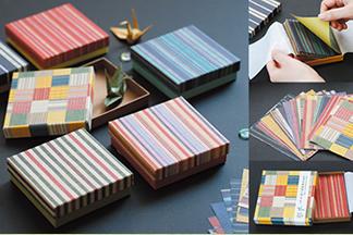 会津木綿柄貼り箱〈折り紙入〉